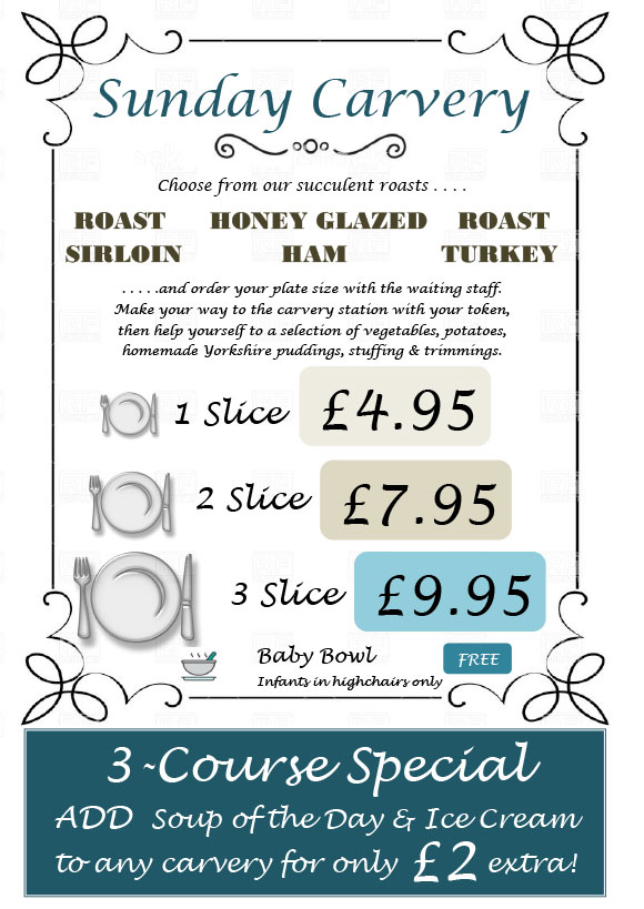Country Park Inn Carvery Menu