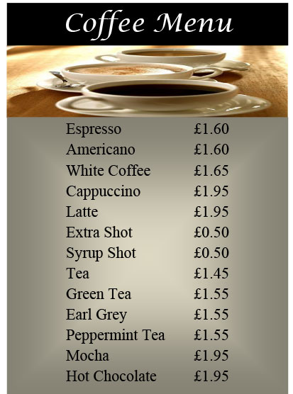 Country Park Inn Mintlaw Coffee Menu 2017